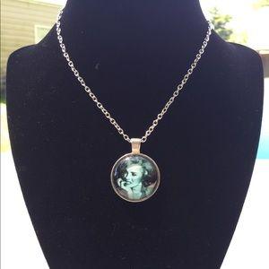 Marylin Monroe Portrait Silver Necklace Pendant